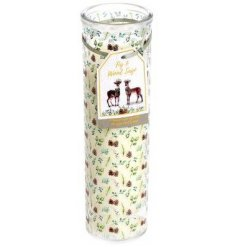 A sweetly scented wax candle, beautifully packaged with a woodland print decal and matching label