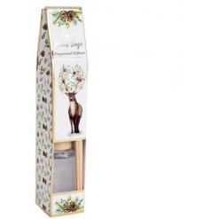 A sweetly scented reed diffuser,  beautifully packaged with a woodland print decal and matching label