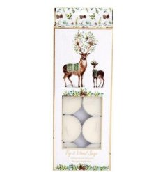 This sweetly scented set of small tlight candles is part of a delightful new range of Festive Homewares