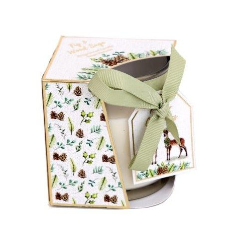A wood sage and fig scented wax candle,  packaged in a matching display box with a green ribbon bow and tag