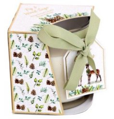 beautifully packaged with a woodland print decal and matching label