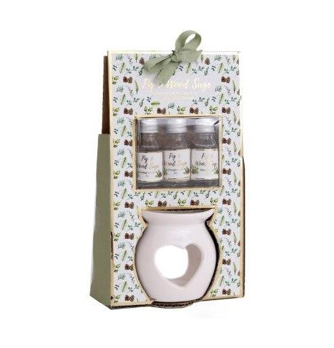 A wood sage and fig scented set of essential oils and burner, packaged in a matching display box with a green ribbon bow