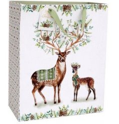 A natural illustrated pair of deer with sage coloured detail and forest greenery presented on a medium gift bag.