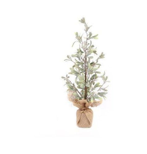 A simple potted mistletoe branch set with a glittery coating and hessian wrapped base