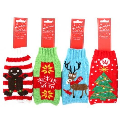 An assortment of festive themed knitted jumpers that will make any wine bottle look Christmassy