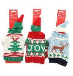 An assortment of festive themed woollen Jumpers perfectly fitting for any Wine Bottle during Christmas Time