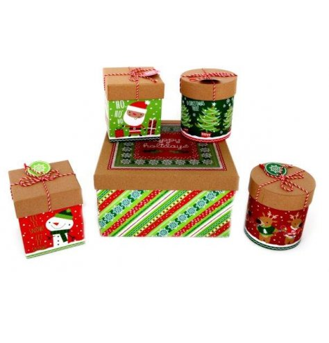A fun and festive themed assorted set of cardboard gift boxes in assorted sizes and shapes