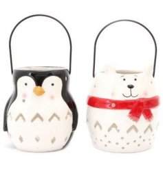 A mix of Festive Polarbear and Penguin ceramic lanterns