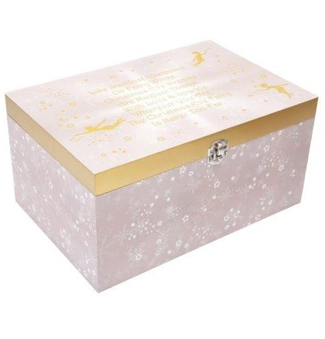 A White and pink toned wooden Christmas Eve Box with an added gold clap and fairy decal