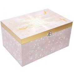 Covered with its whimsical inspired golden fairy decals and added glittery touches, this box is perfect for any little
