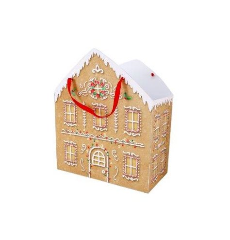 A festive Gingerbread House shaped gift bag with an added red silk handle and gumdrop decals
