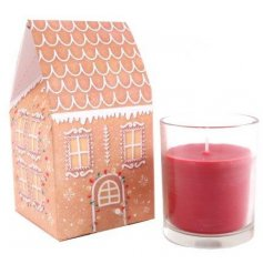 A sweet gingerbread scented candle pot with a matching styled packaging