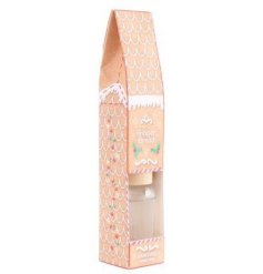 A sweet gingerbread scented diffuser with a matching styled packaging