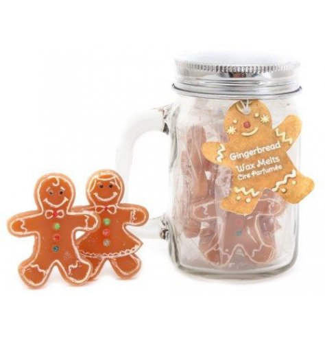 A festive scented assortment of Gingerbread shaped wax melts set in a clear glass mason jar