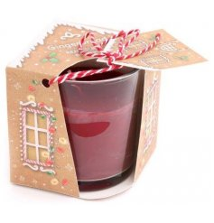 A sweet gingerbread scented candle pot complete with a matching styled packaging