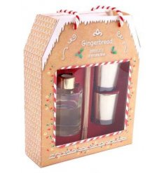 A set of 3 Gingerbread scented home accessories with a matching Gingerbread House packaging