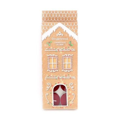 A festive scented set of tlight candles, complete with a matching Gingerbread themed packaging