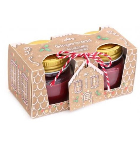 A set of festive scented mini wax candles with a matching Gingerbread themed packaging and label