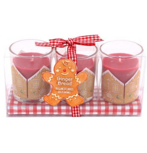 A set of festive scented wax candles with a matching Gingerbread themed packaging and label