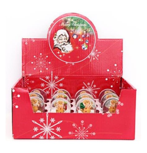 Festive Waterballs each filled with an alternate posed Gingerbread Man Centre