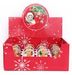 A fun and festive mix of assorted Gingerbread Snowglobe decorations