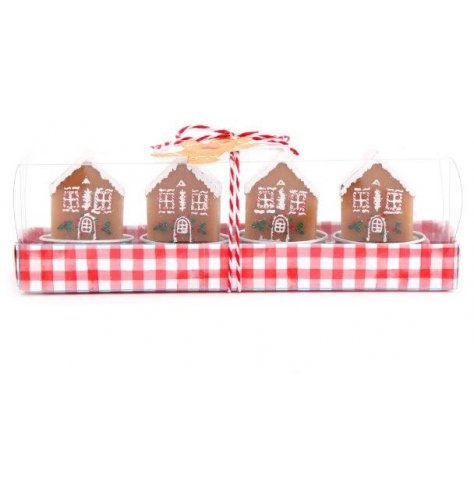 A set of 4 Gingerbread House shaped Wax T-lights , packaged in a red checkered box tied with a red and white string