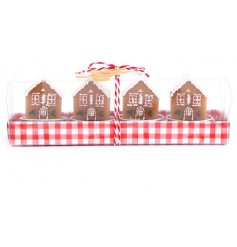 A set of festive themed Gingerbread House Tlight Decorations, perfect for the home at Christmas time