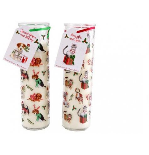 each decorated with a Christmas Pet inspired print and filled with a festive scented wax