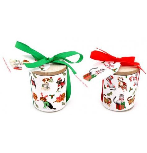 An assortment of festive scented candle pots, each decorated with a Traditional Inspired Christmas Pet Print