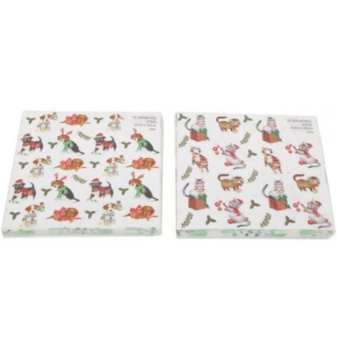 An assortment of 16 pack napkins, each decorated with a Traditional Inspired Christmas Pet Print