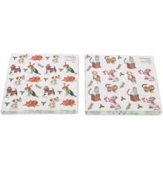 A fun and festive assortment of Christmas themed napkins with Cat and Dog decals on each