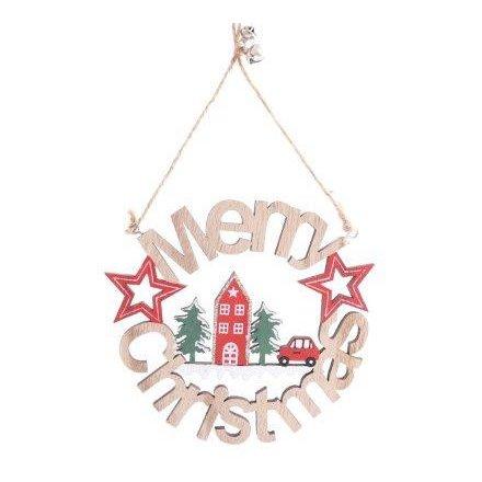 Alpine Merry Christmas Sign, 15cm