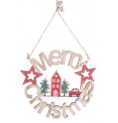A round wooden Merry Christmas Sign with an added festive Alpine inspired decal to it