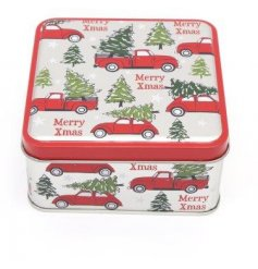 Perfect for storing those tasty Christmas Treats, a square metal storage tin with an Alpine Car inspired decal