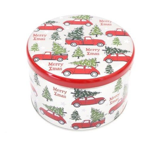 A round metal storage tin decorated with a festive Alpine Truck inspired print