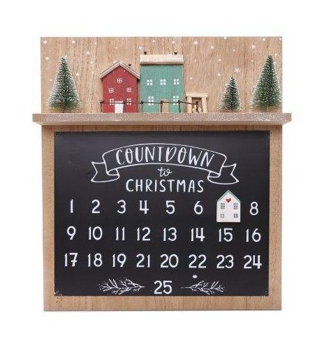 A Jolly themed natural wooden Count Down Chalkboard with a festive toned Christmas village decal on it