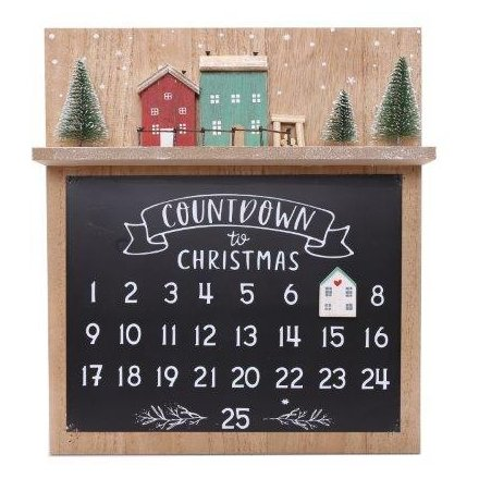 Rustic Wooden Advent Chalk Board, 32.5cm