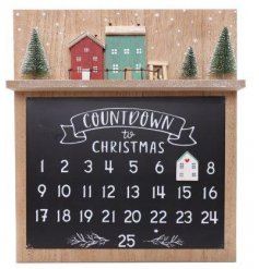 A rustic inspired wooden count down plaque with a traditional coloured row of houses decal on top