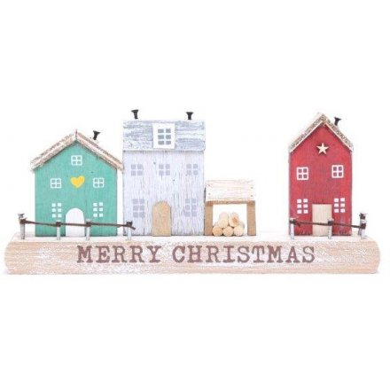 Rustic Inspired Merry Christmas Plaque, 18cm