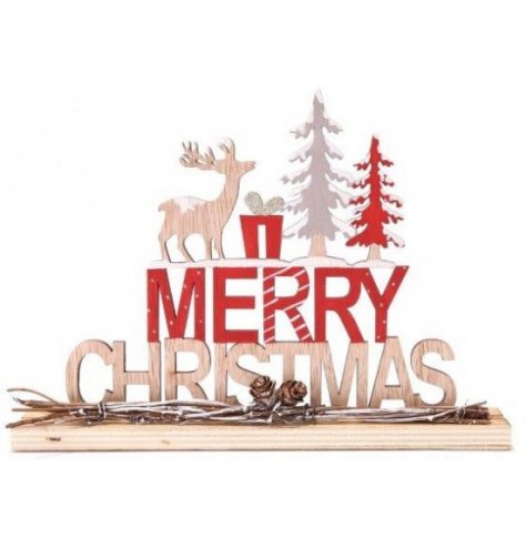 A natural wooden Merry Christmas Sign with added woodland foliage and red tones