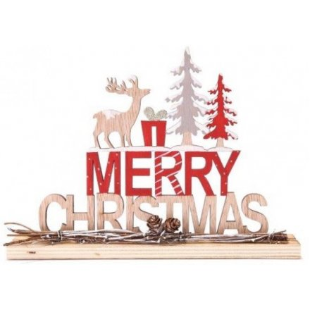 Merry Christmas Wooden Sign, 23.5cm