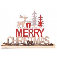 A festive themed wooden Christmas Sign with added red and white tones and a subtle woodland charm