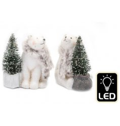 An assortment of standing Polar Bear decorations coated with a glittery sprinkles and a Led tree decoration