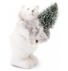 A standing Polar Bear decoration coated with a glittery sprinkles and a Led tree decoration