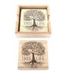 A set of natural wooden square coasters, decorated with a simple tree of life motive across each