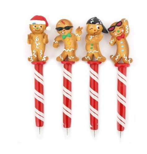 An assortment of novelty writing pens, each with a posed Gingerbread Man Topper