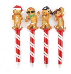Perfect little stocking fillers at Christmas time, an assortment of 4 pens with candy cane stripes and posed gingerbread