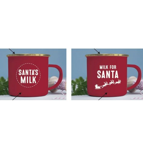 An assortment of red toned metal mugs with assorted white Santa Text on each