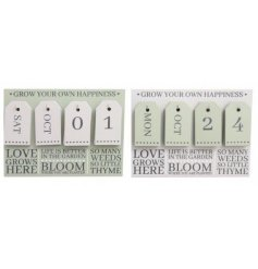 A charming mix of wooden plaques with added perpetual count downs from our 'Potting Shed' range,
