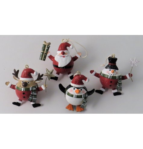 A festive little assortment of polyresin hanging Christmas Characters with added glitter touches and traditional tones